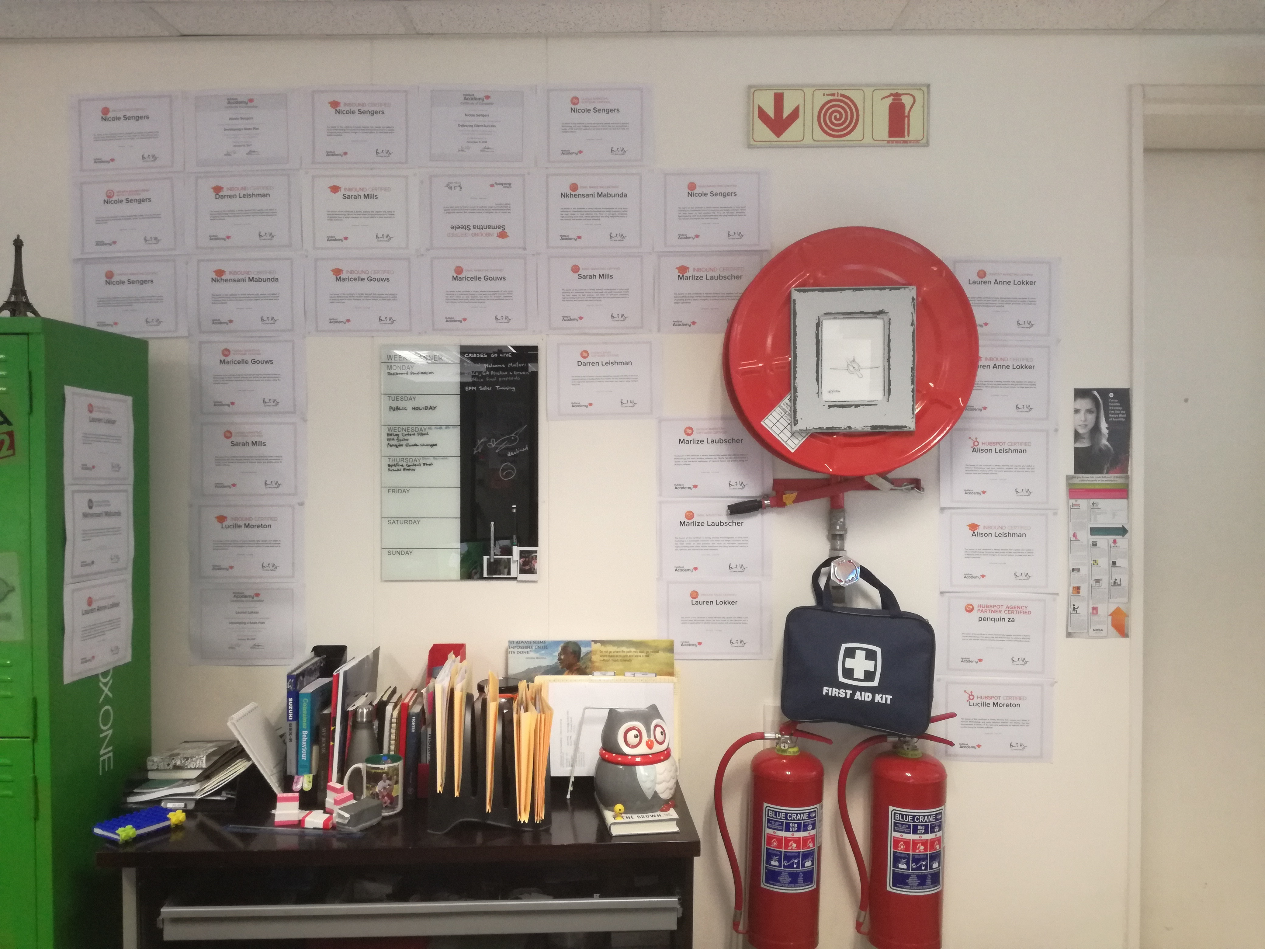 Picture of wall of certifications